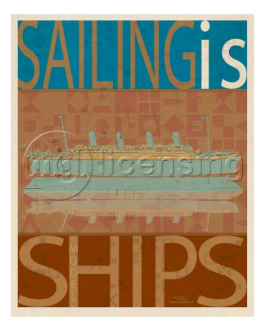 SAILING IS Titanic model on brownjpg