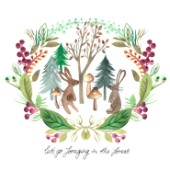 RABBITS FORAGING IN THE FOREST WATERCOLOUR PLACEMENT WITH LAUREL WREATH SURROUND.jpg
