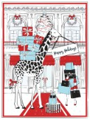Funky holidays card illustraion with giraffe and a shop