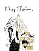 Womna with champagne and a Xmas tree illustration card
