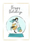 Stylish girl in a big snow ball illustration card