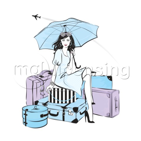 Modern woman travelling in style fashion illustration